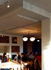 Restaurant noise level helped with ceiling acoustic panels