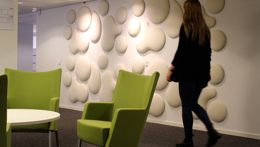 Wobedo Decorative Acoustic Panels Woolbubble pieces shown in wall configuration