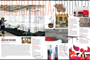 Azure Magazine Spread of their IIDEX Highlight Choices including Wobedo Acoustic Panels
