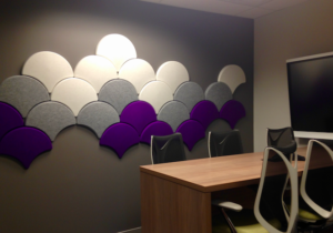 Meeting Room acoustic panels Ginkgo purple white grey