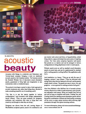 Acoustic Beauty article introduced Acoustics With Design to BC wall and ceiling trades.