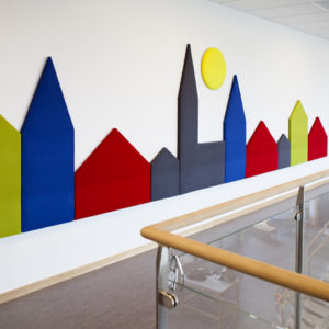 "Wobedo Decorative Acoustic Panels, showing the ""Town Line"""