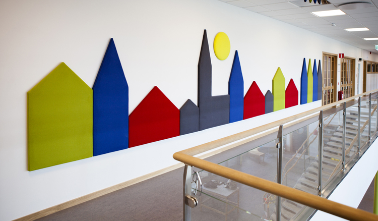 "Wobedo Decorative Acoustic Panels, showing the ""Town Line\"""