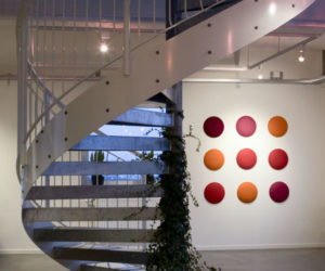 9 colourful small circular acoustic panels arrangement