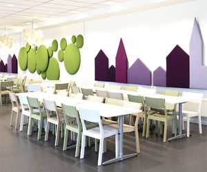 Decorative acoustics green Woolbubbles & purpleTown panels